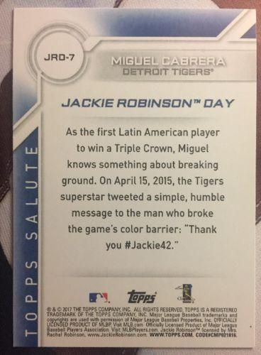2017 Topps Jackie Robinson Day #JRD-7 Miguel Cabrera Tigers NM-MT Baseball