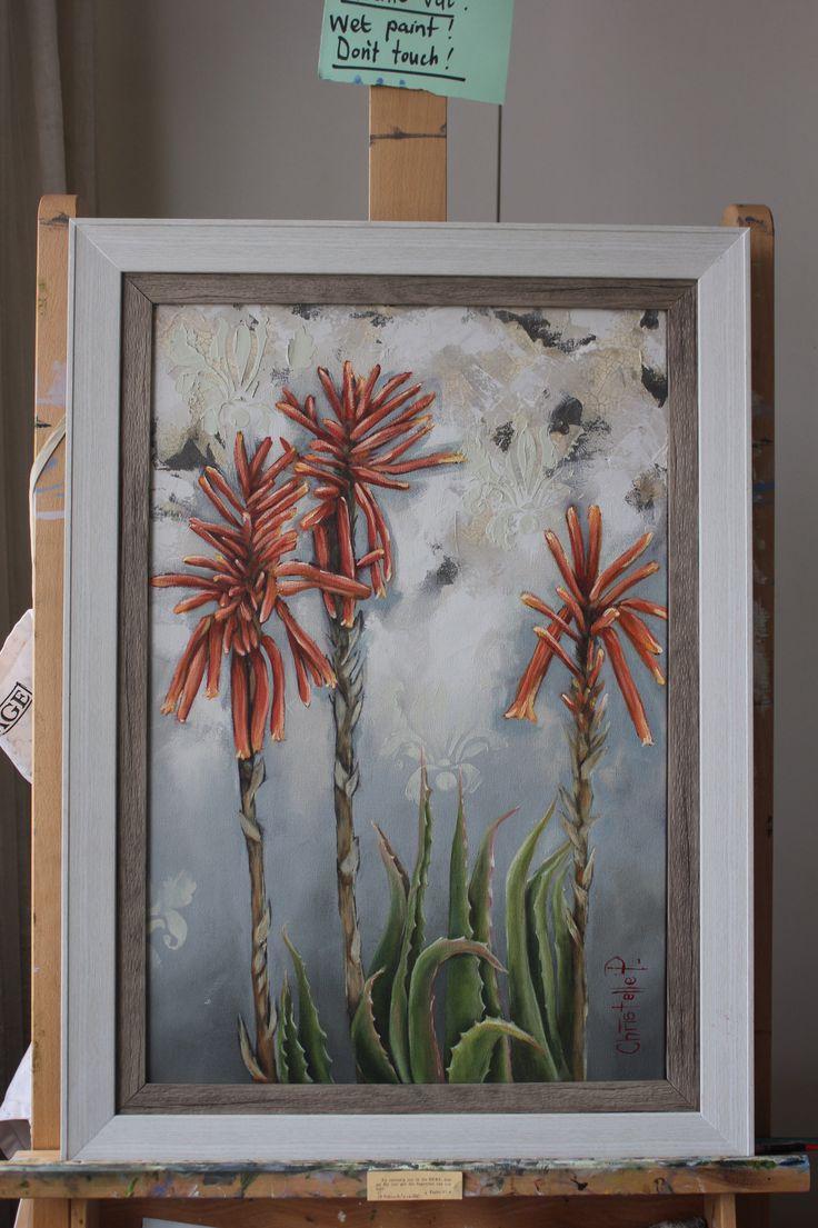 Aloes, framed, oil on canvas, www.christellepretoriusart.co.za