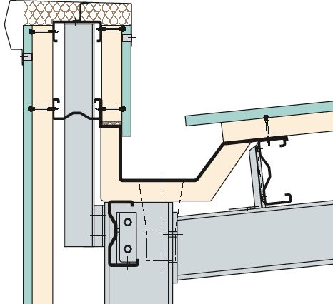 KINGSPAN - Gutter and Downpipe #arquitectura #dibujos #secciones #detalles #cubiertas #saneamiento #secciones constructivas