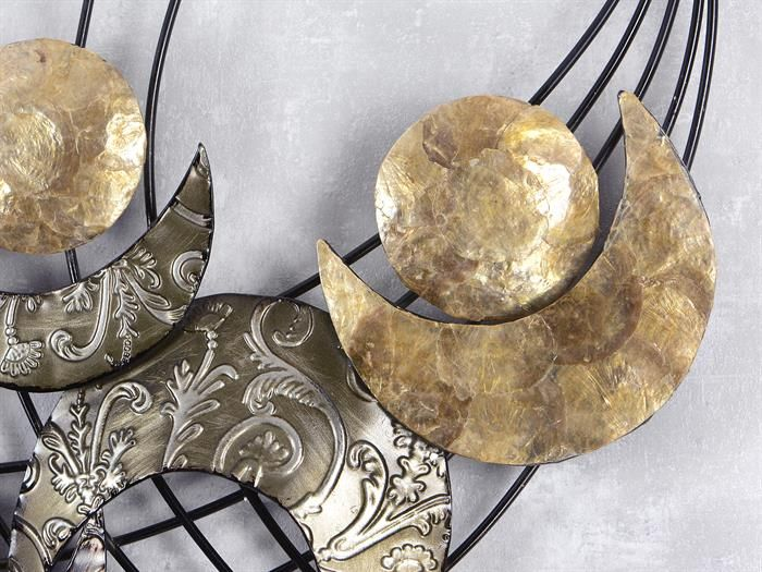WAND-DEKO Retro Muschel - aus Metall Breite 91cm Höhe 75cm - schwarz mit silber oder gold