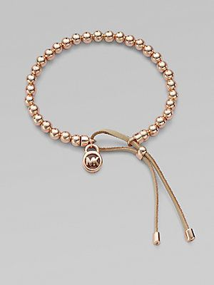 Michael Kors Leather Accented Beaded Bracelet/Rose Goldtone