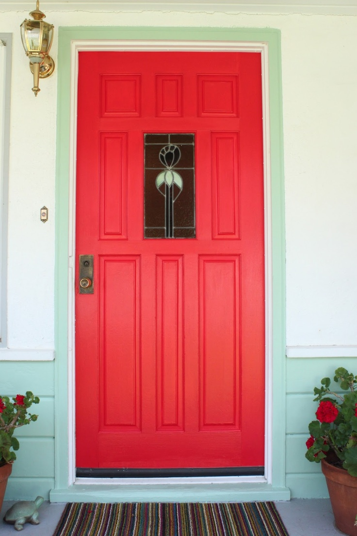 Story And Space My Red Door With Mint Green Trim