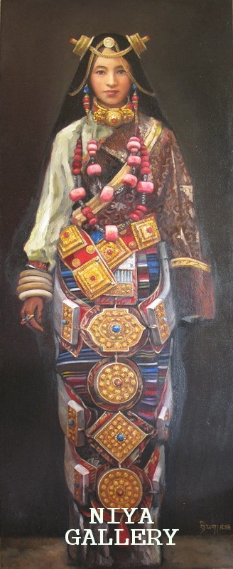 Tibetan artist Niya painted this pic of a woman from Litang in all of her jewelry. His website (in Chinese) is niya.tibetcul.com/ I think that this pic may well be a commissioned piece by the family of this lady, maybe a wedding present. That's because several times I've seen photos of Khampa Tibetans in their homes, and paintings of them wearing their best ceremonial clothes and jewelry hung on the wall, that looked just like this one