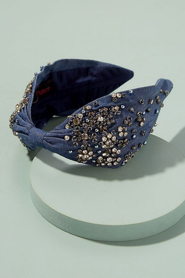 Slide View: 1: Kaja Embellished Denim Headband