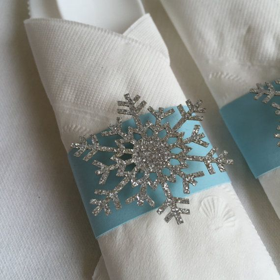 Winter Wonderland Napkin Rings  Set of 12  Silver Glitter Snowflakes by DecorateYourBigDay