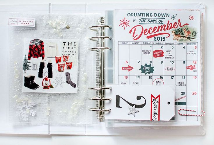 Stitch in Time December Daily - showing a wish list and calendar