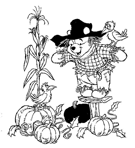 Winnie the Pooh Scarecrow Coloring Sheet