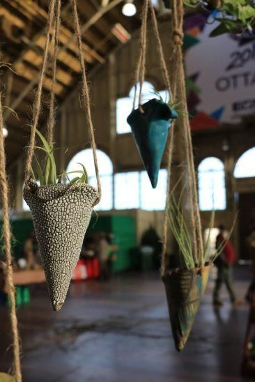 """This ceramic hanging air plant cone will spruce up any space!  Measures approx. 6"""" and hangs approximately 20"""" long.  Add an air plant (for pick-up only)!  Made by Wildtree in Ottawa, Ontario.  Due to the handmade ceramic process, colour and pattern may vary slightly."""