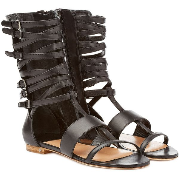 Laurence Dacade Happy Leather Gladiator Sandals (735 BRL) ❤ liked on Polyvore featuring shoes, sandals, flats, flat sandal, black, black low heel sandals, flat sandals, flat leather sandals, black leather flats and flat gladiator sandals