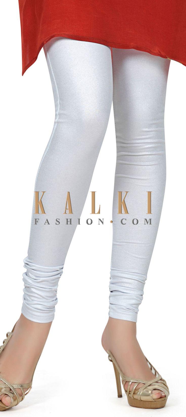 Buy this Featuring shimmer white legging only on Kalki
