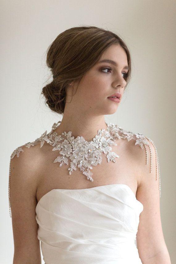 Lace Shoulder Jewelry Bridal Lace Bib Necklace by PowderBlueBijoux