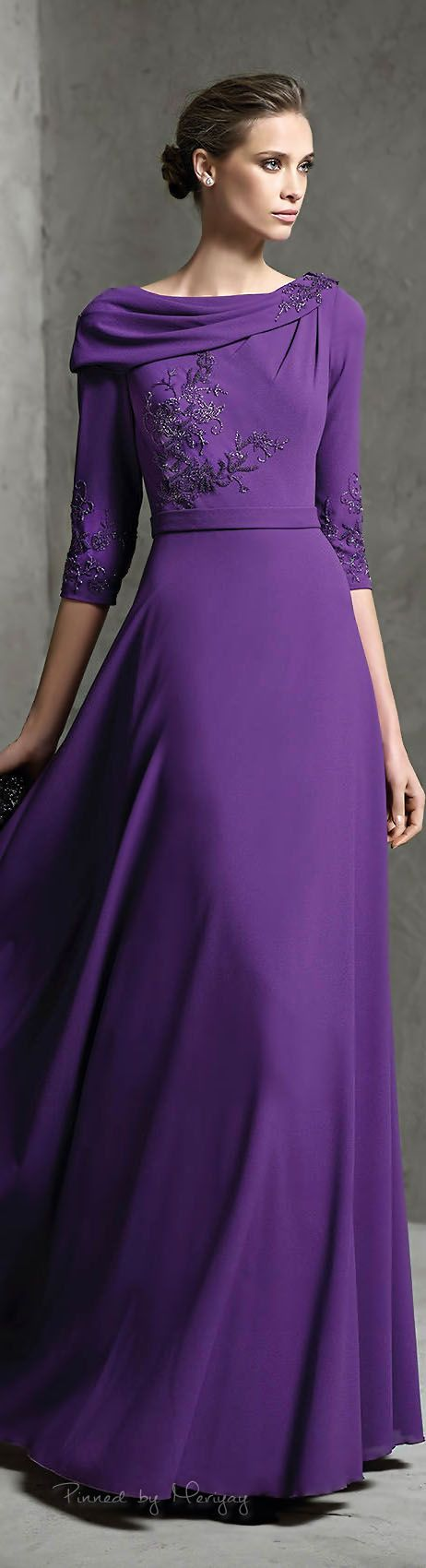 Long sleeve purple mother of the bride dress. Three quarter sleeve evening gowns…