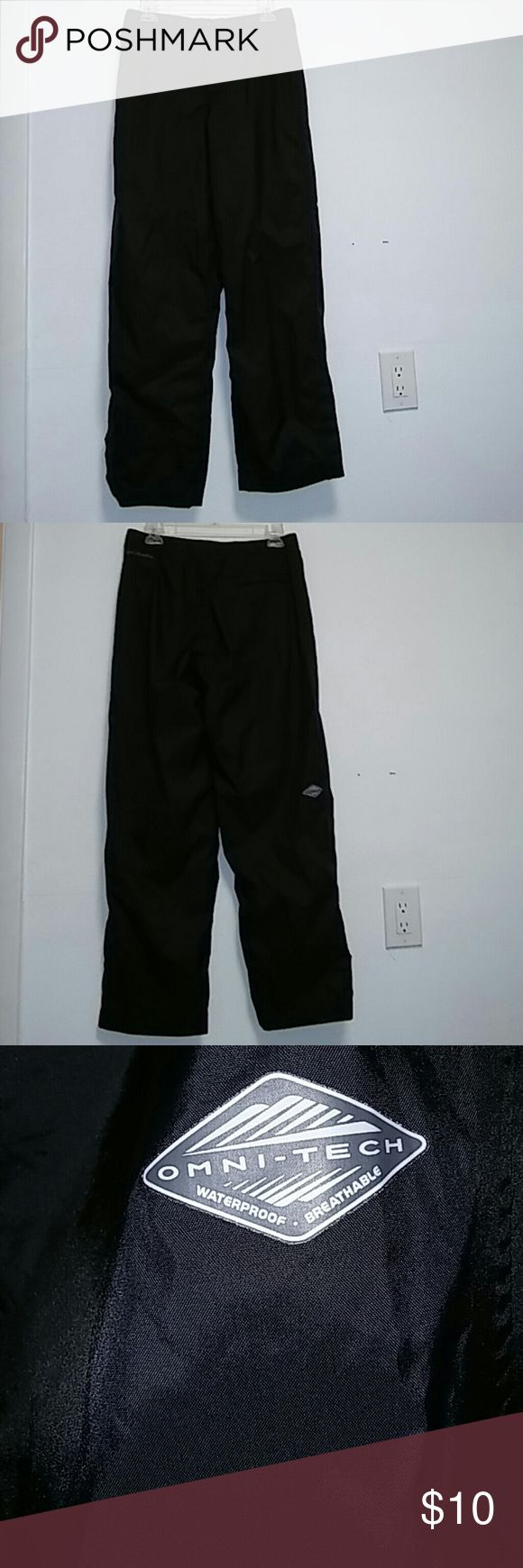 Columbia Omni-Tech Waterproof Men's Pants Sz S Columbia Omni-Tech Waterproof Men's Pants Sz S. Men's black windbreaker pants. Columbia Pants