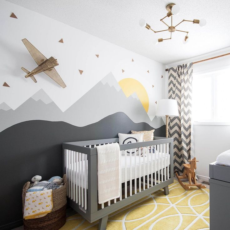 Custom wall mural combines just a hint of yellow with shades of gray [Design: Leclair Décor / Photo: Sacha Leclair]