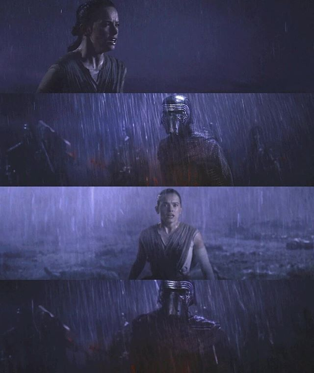 "then she turns around and looks ahead and sees Kylo saving her. Then again she looks behind her and sees her young self being left on Jakku..then turns ahead and sees herself in the woods in the snow with Kylo. What if her turning back and forth is a symbolism for past and future events in that vision? Luke's hand on R2D2 and little Rey are past and both Kylo visions are future. and then Maz later says ""the belonging you seek is not BEHIND you, it is AHEAD.""(2/2)"