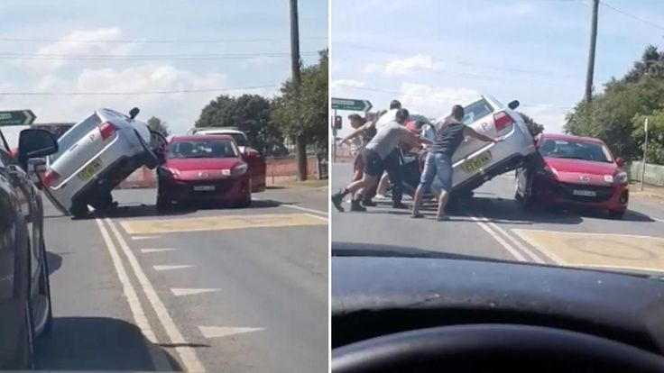 Sydney crash leaves one car balancing on top of another - Yahoo7 News #757Live