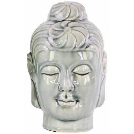 Urban Trends Collection: Ceramic Buddha Head, Gloss Finish, Turquoise, Gray