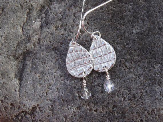 Silver drop earrings textured teardrop by SilverWindsJewellery https://www.etsy.com/uk/listing/247191714/silver-drop-earrings-textured-teardrop?ref=shop_home_active_11