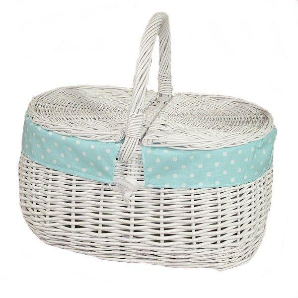 Biały wiklinowy kosz na piknik obszyty materiałem - wzór białe kropki na turkusowym tle