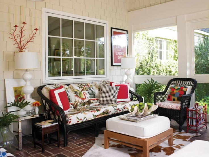 Vintage White Front Porch Design With Elegant Black Rattan Bench Furniture  Ideas Also Soft Square Wooden Table Above The Cow Skin Patterns Of The Rugs  ...