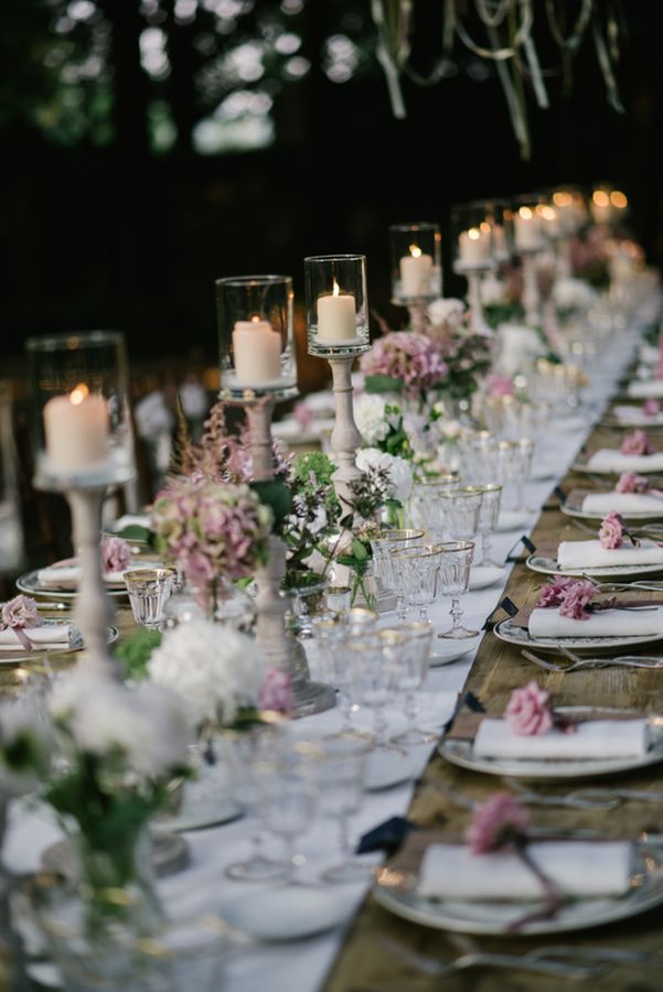 Trestle Table | Borgo Stomennano in Tuscany | Intimate Wedding | Romantic Pink & Navy Colour Scheme | Marco Abba Videography | Lelia Scarfiotti Photography | http://www.rockmywedding.co.uk/claudia-mike/