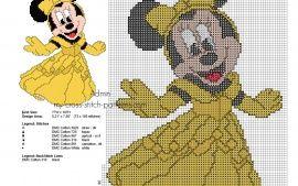 Cross stitch pattern Disney Minnie Princess Belle
