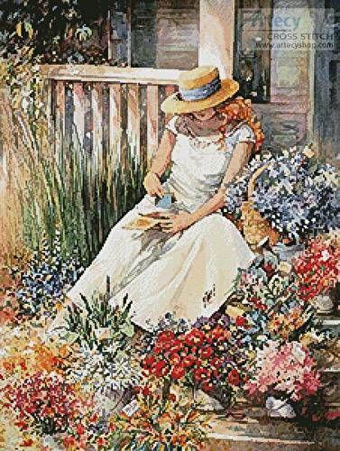 Girl with Flowers - cross stitch pattern designed by Tereena Clarke. Category: Women.