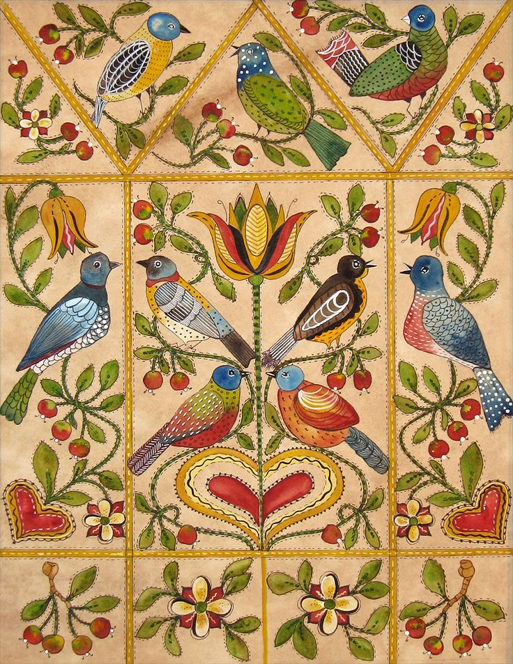Birds In Air Quilt New Fraktur By Judith Brinckerhoff
