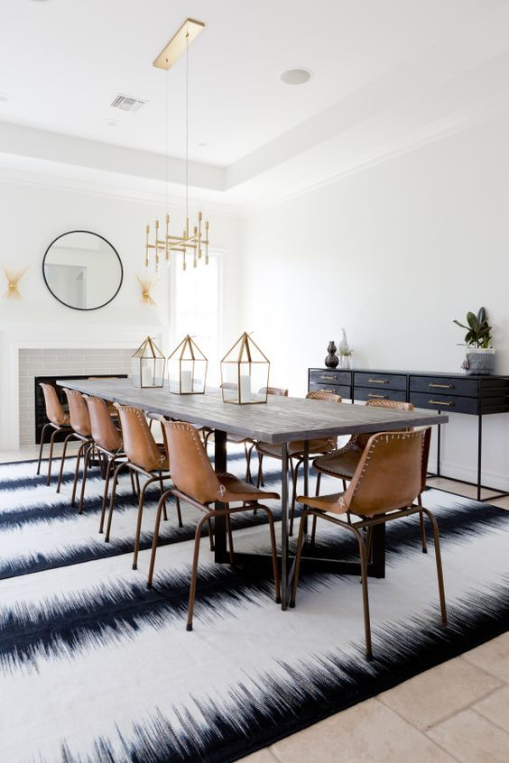 Extra Long Dining Room Table, Leather School House Chairs, And Brass  Chandelier: Http