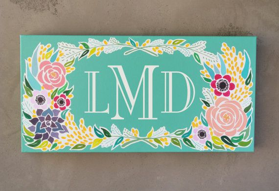 Monogram Canvas Painting  Original Painting by CamilleHandmade