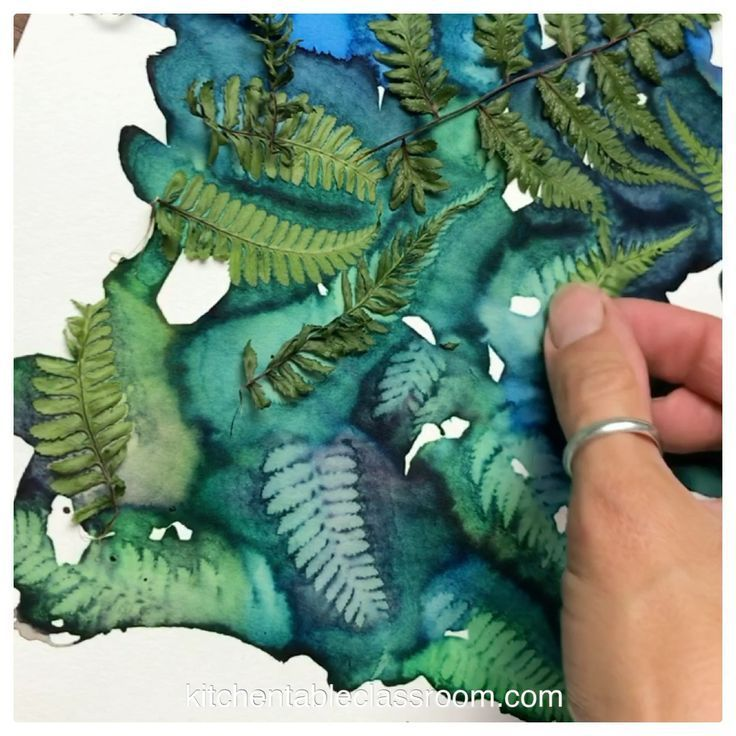 Gravures de feuilles en aquarelle