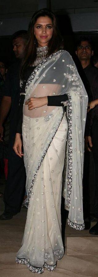 Bollywood Replica of Deepika Padukone White Net Saree