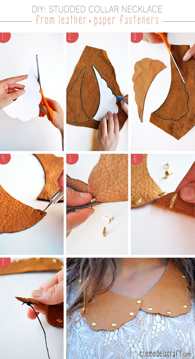 DIY - Leather studded collar necklace