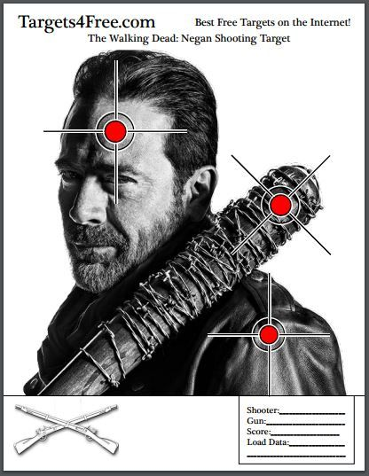 "Take out The Walking Dead's worst villain so far. The powerful bad guy dictator Negan, played by Jefferey Dean Morgan. Make sure you destroy his bat ""Lucille"", too! #negan #twd #thewalkingdead #shooting #targets #jeffereydeanmorgan #walking dead #free #sports #lucille #badguy #guns"