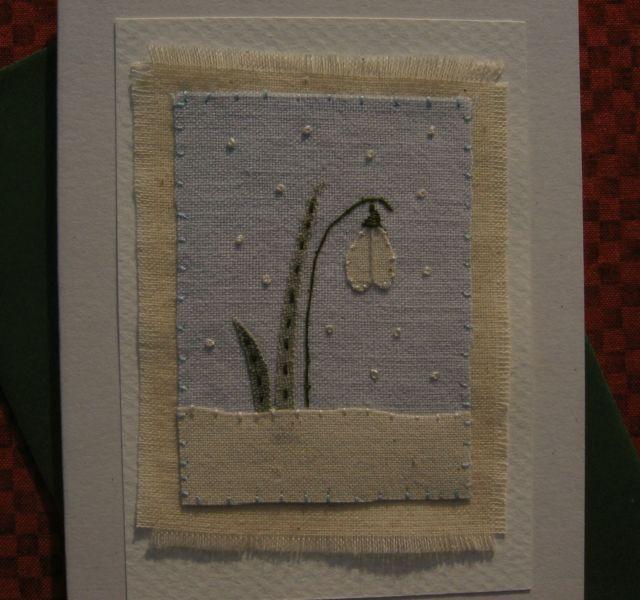 Handstitched card designed/made by Helen Drewett LITTLE SNOWDROP more in my shop | eBay