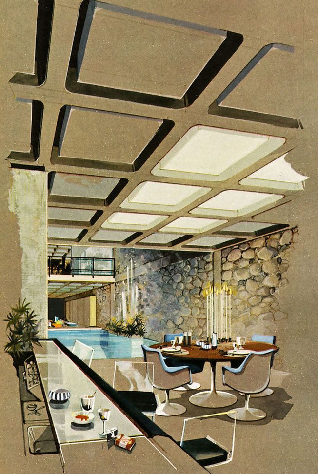 architect R. Donald Jaye, rendering by Humen Ten;  gouache and ink