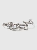 Womens 4 Pack Silver Rhinestone Rings- Clear