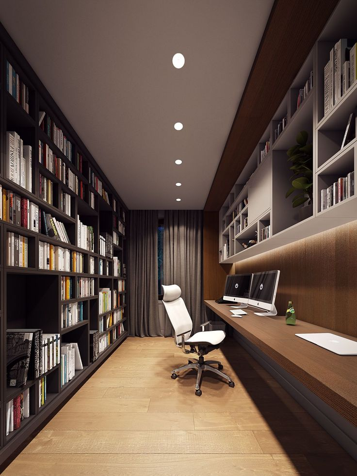 Home Library Rooms, Home Library Design, Home Libraries, Home Room Design, Dream Home Design, House Rooms, House Design, Modern Home Offices, Small Home Offices