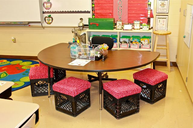 Great ideas here for setting up the class, I especially like the recycled crates as chairs...very cool.