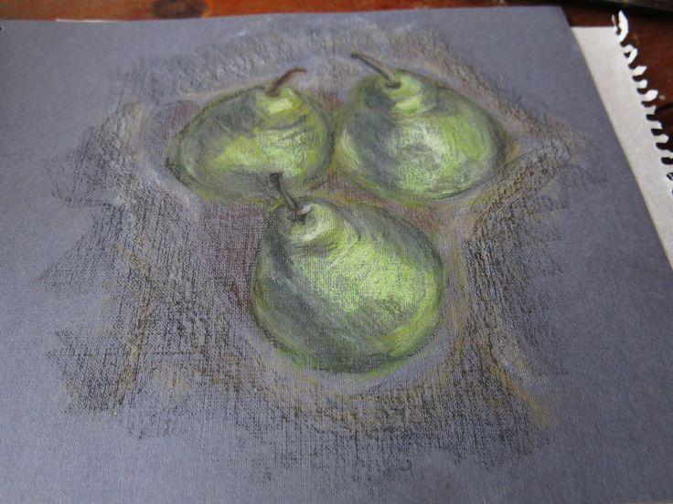Мои груши масляной пастелью