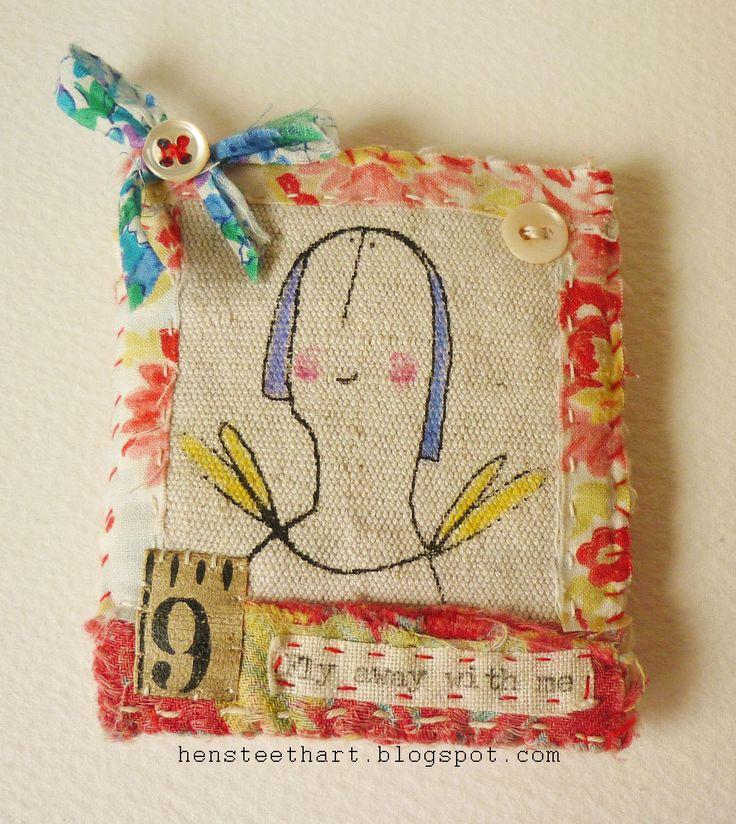 Hand stitched textile fiber brooch by hensteethart.blogspot.com