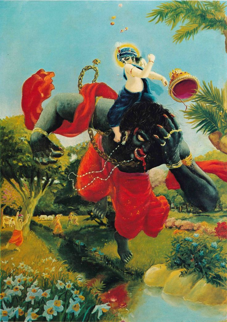 The Demon Krishna was about to Kill, Pralambasura, looked just like a cloud with lightning carrying the moon.