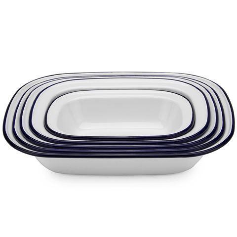 Falcon - White & Blue Enamel Pie Dish Set 5pce   Peter's of Kensington