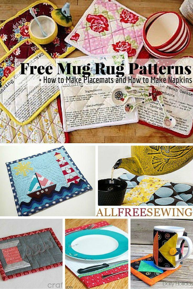 43 Free Mug Rug Patterns and Placemat Patterns | AllFreeSewing.com                                                                                                                                                                                 More