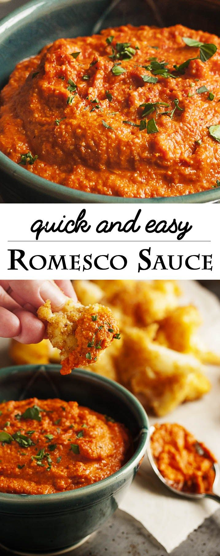 Quick & Easy Romesco Sauce - This 5 minute sauce packs a powerful punch which enhances everything! Great with meats, seafood, bread and MORE! Super quick. Super versatile. And super tasty. | justalittlebitofbacon.com