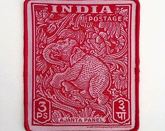 """India stamp iron on patch - Ajanta Panel - Red & White 4"""" x 4 1/2"""" Designed and Made in USA"""