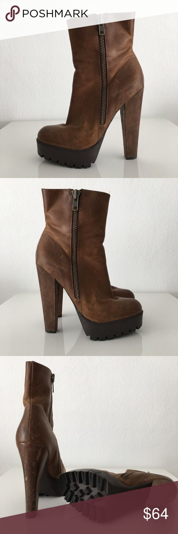 William Rast Brown Leather Ankle Boots These William Rast platform booties give lots of height while keeping your feet comfortable. The Platform gum bottom is perfect for cold weather strolls, and the beautiful and soft brown leather looks expensive and chic. William Rast Shoes Ankle Boots & Booties