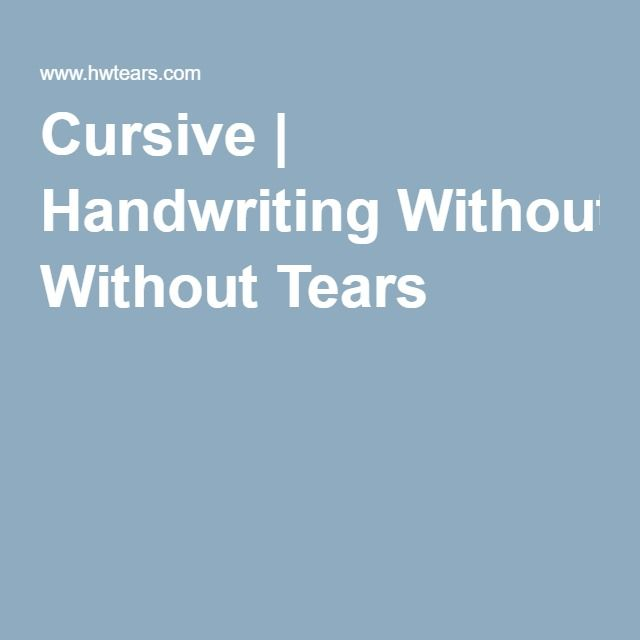 7 best cursive without tears images on Pinterest | Handwriting ...