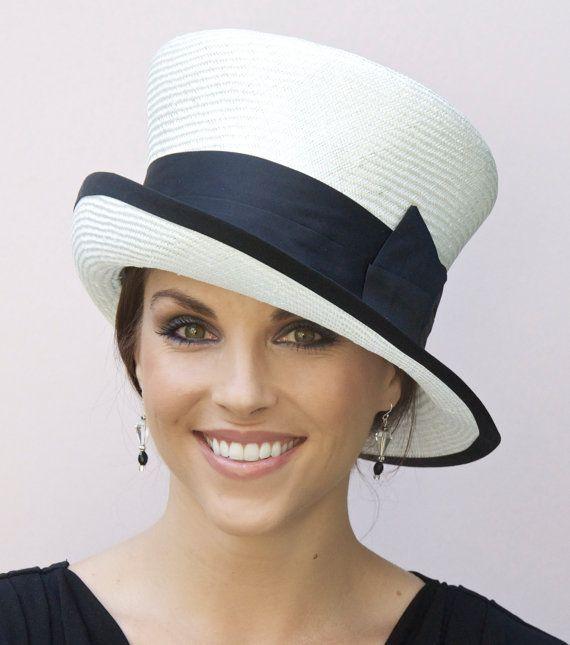 Wedding Hat, Church Hat, Mad Hatter, Cloche. Black & White Hat. Derby Hat, Black…