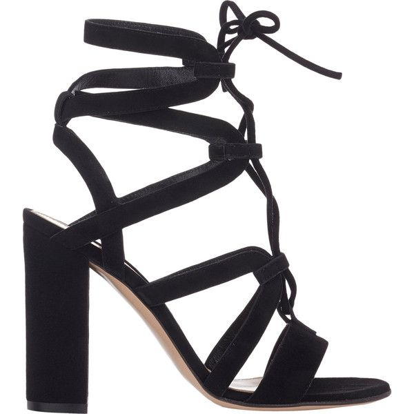Gianvito Rossi Strappy Lace-Up Sandals (1 501 955 LBP) ❤ liked on Polyvore featuring shoes, sandals, heels, black, strappy heel sandals, strap sandals, open toe sandals, black suede sandals and black lace up sandals